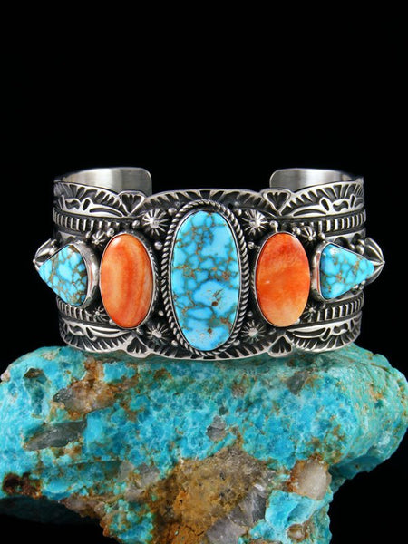 Navajo Kingman Turquoise and Spiny Oyster Cuff Bracelet