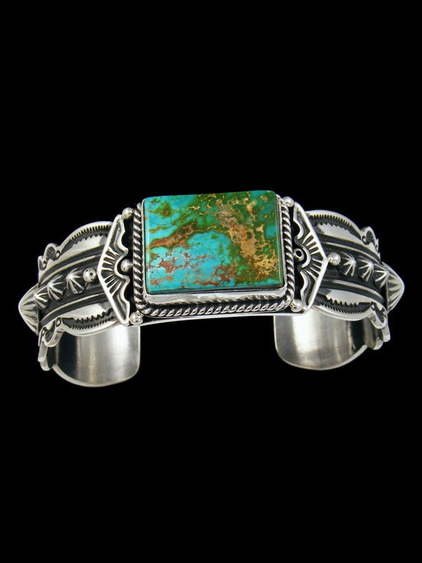 Navajo Indian Jewelry Sterling Silver Royston Turquoise Cuff Bracelet
