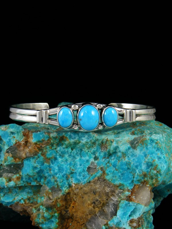 Native American Sterling Silver Sleeping Beauty Turquoise Bracelet