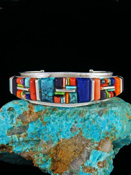 Navajo Spiny Oyster and Turquoise Sterling Silver Cobblestone Inlay Cuff Bracelet