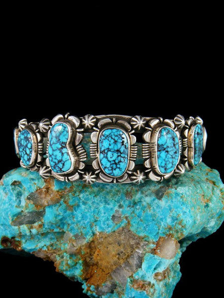 Native American Sterling Silver Lone Mountain Turquoise Bracelet