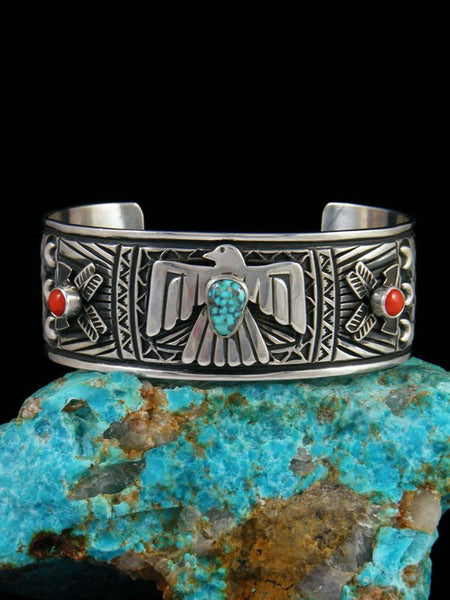 Native American Turquoise and Coral Thunderbird Cuff Bracelet