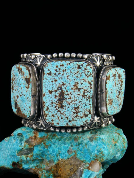 Native American Number 8 Turquoise Sterling Silver Bracelet