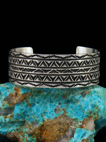 Native American Sterling Silver Stamped Cuff Bracelet