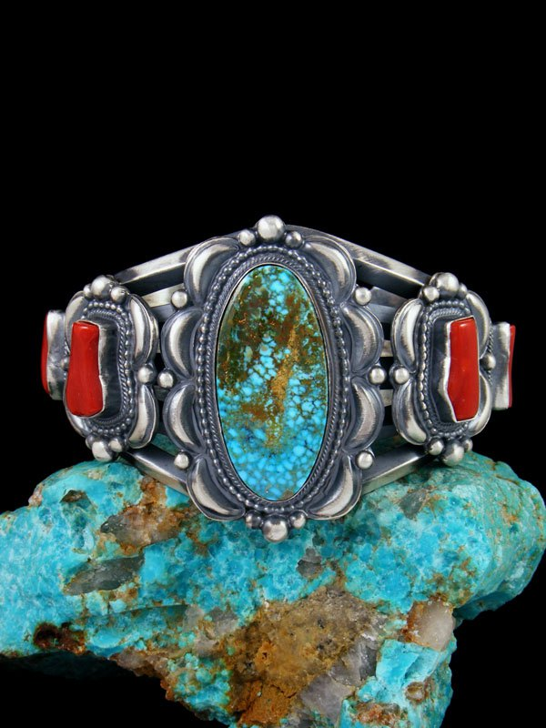 Native American Sterling Silver Kingman Turquoise and Coral Bracelet