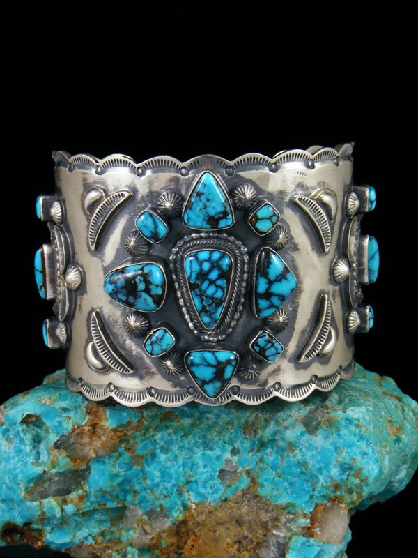 Navajo Cloud Mountain Turquoise Sterling Silver Cuff Bracelet