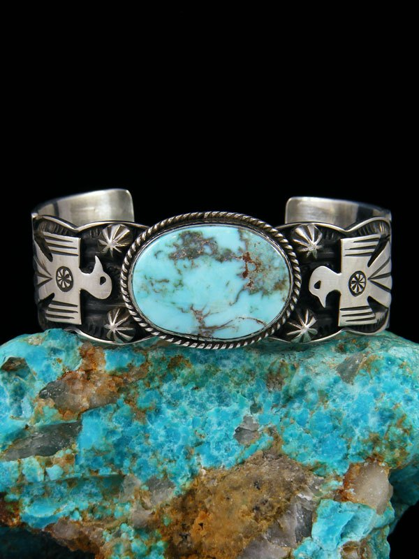 Navajo Indian Jewelry Sterling Silver Dry Creek Turquoise Thunderbird Bracelet