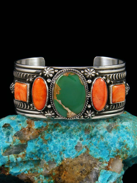 Native American Sterling Silver Spiny Oyster and Turquoise Cuff Bracelet