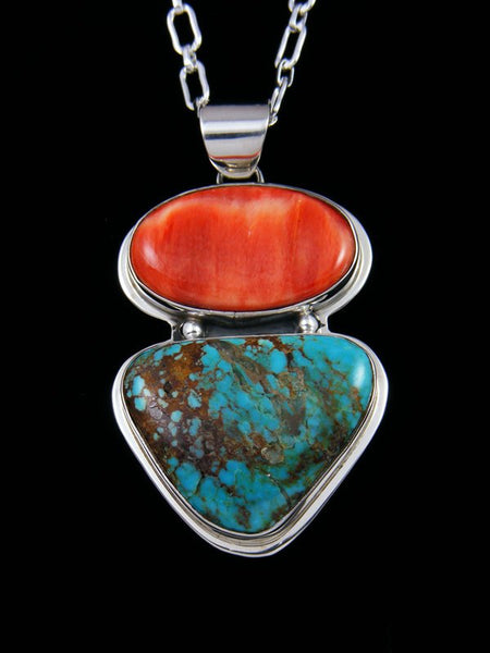 Native American Indian Jewelry #8 Turquoise and Spiny Oyster Pendant