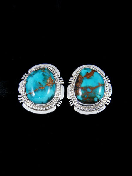Navajo Sterling Silver Post Sierra Nevada Turquoise Earrings