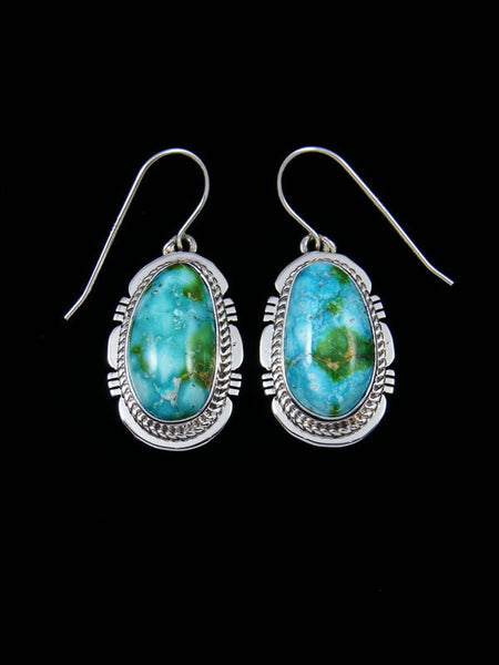 Native American Sonoran Turquoise Sterling Silver Dangle Earrings