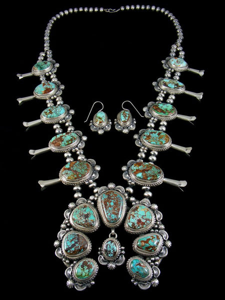 Natural Royston Turquoise Squash Blossom Necklace Set
