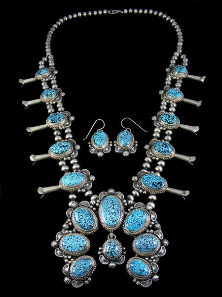 Kingman Black Web Turquoise Squash Blossom Necklace Set