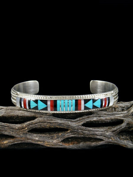 Native American Turquoise and Coral Zuni Pueblo Inlay Bracelet