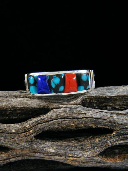 Lapis, Coral, and Turquoise Inlay Ring, Size 7