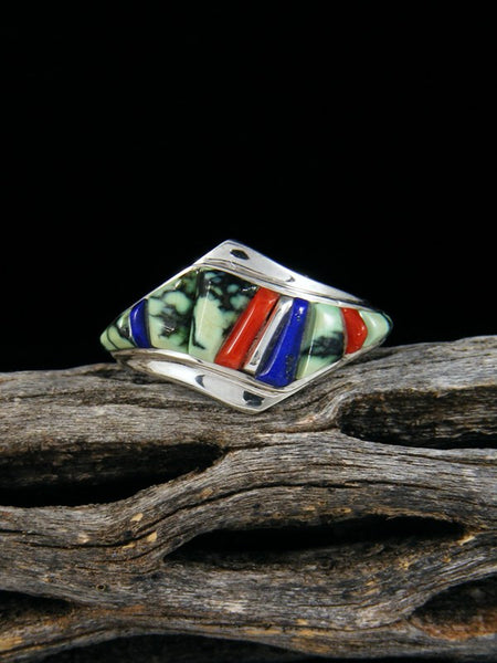 Lapis, Coral, and Turquoise Inlay Ring, Size 7.5