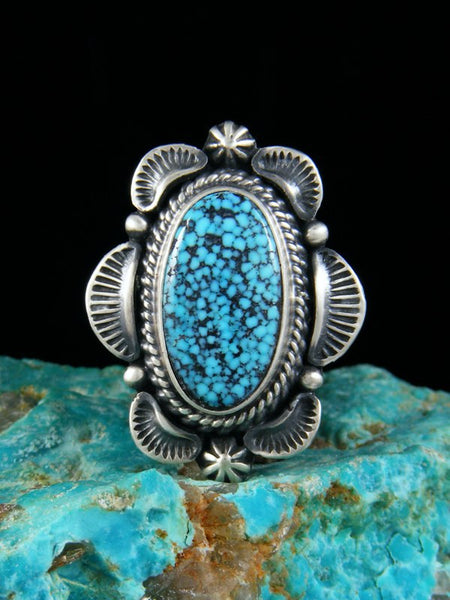 Kingman Black Web Turquoise Ring, Size 6 1/2