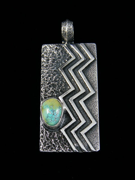 Natural Blue Moon Turquoise Sandcast Navajo Pendant