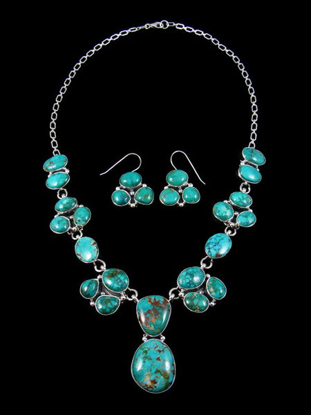 Native American Sterling Silver Sierra Nevada Turquoise Necklace Set