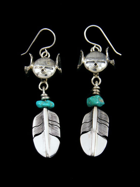 Navajo Turquoise Kachina Dangle Earrings