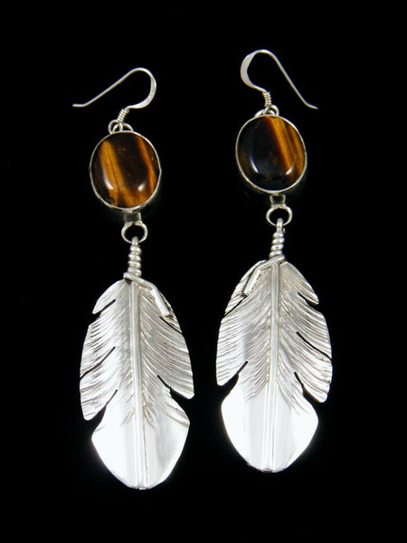 Navajo Tiger Eye Sterling Silver Feather Dangle Earrings