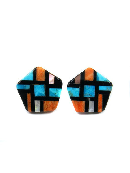 Santo Domingo Turquoise Mosaic Inlay Post Earrings