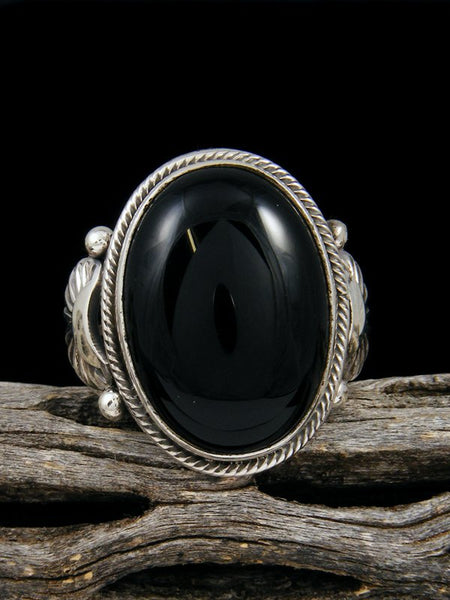 Black Onyx Sterling Silver Ring, Size 12