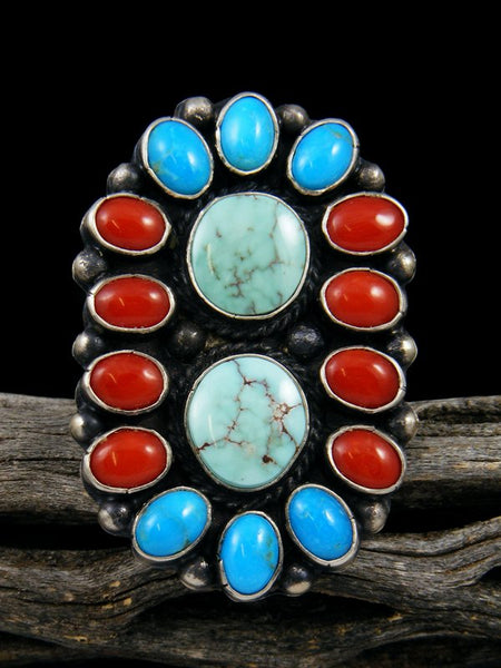 Dry Creek Turquoise and Coral Cluster Ring, Size 9.5