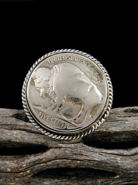 Navajo Buffalo Head Nickel Ring, Size 6