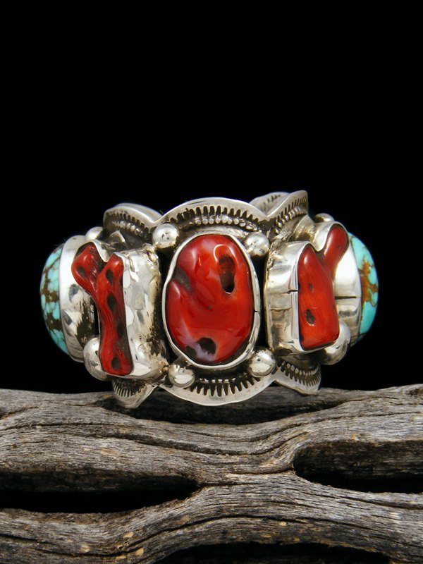 Number 8 Turquoise and Coral Ring, Size 8 1/2