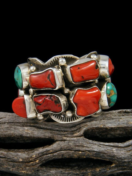 Natural Royston Turquoise and Coral Ring, Size 10 1/2
