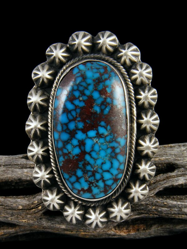 Large Egyptian Spiderweb Turquoise Ring, Size 8 1/2
