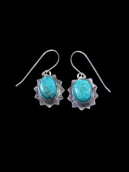 Navajo Sterling Silver Sierra Nevada Turquoise Dangle Earrings