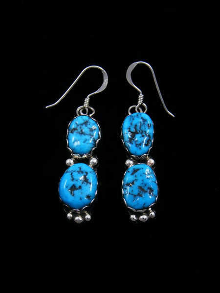 Navajo Sleeping Beauty Turquoise Jewelry Sterling Silver Dangle Earrings