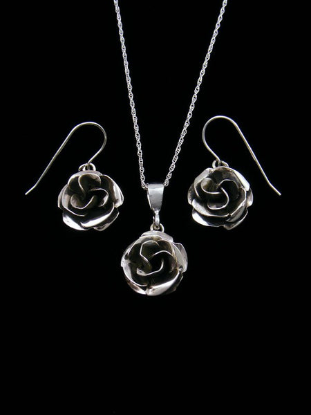 Navajo Sterling Silver Rose Necklace and Earrings Set