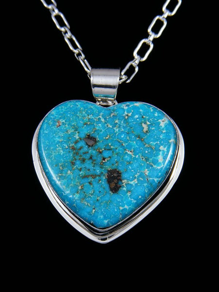 Native American Indian Jewelry Kingman Turquoise Heart Pendant