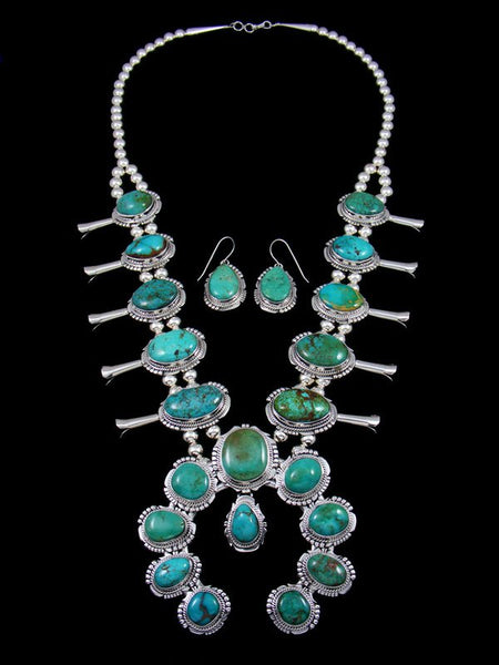 Native American Sierra Nevada Turquoise Squash Blossom Necklace Set