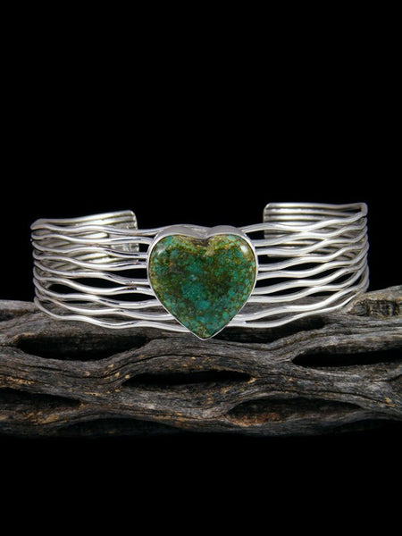 Native American Sterling Silver Turquoise Heart Cuff Bracelet