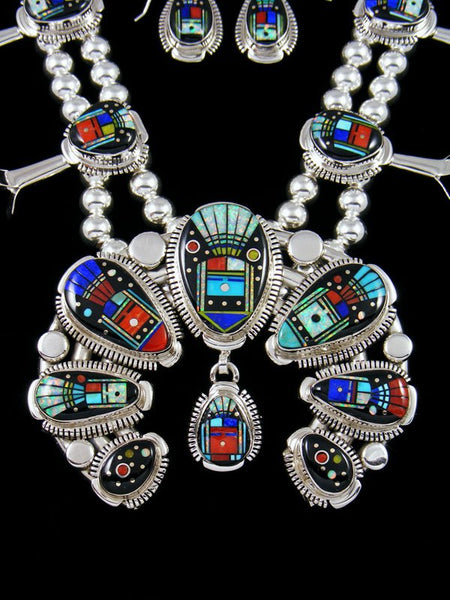 Yei Figural Inlay Sterling Silver Squash Blossom Necklace Set