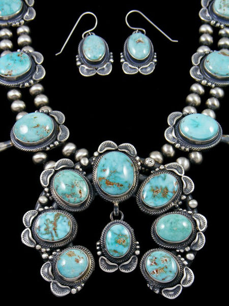 Dry Creek Turquoise Sterling Silver Squash Blossom Necklace Set