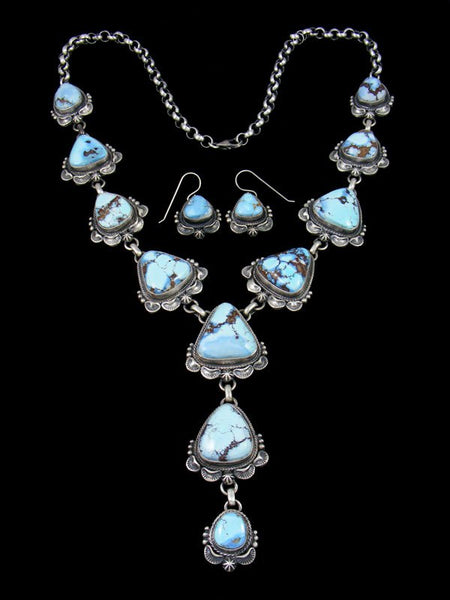 Golden Hill Turquoise Lariat Necklace and Earring Set