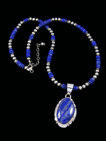 Native American Sterling Silver Lapis Beaded Necklace