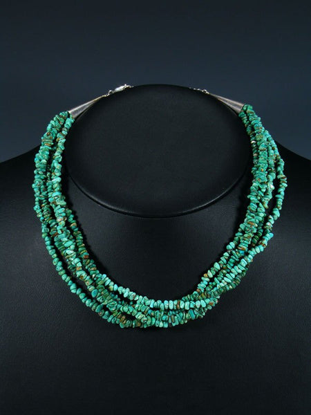 Native American Five Strand Turquoise Choker Necklace