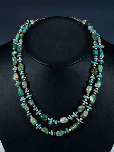 Native American Double Strand Turquoise and Sterling Silver Bead Necklace