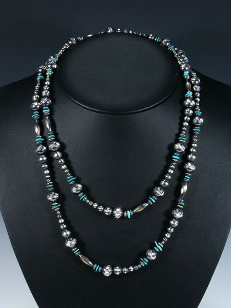 Extra Long Native American Turquoise and Sterling Silver Bead Necklace