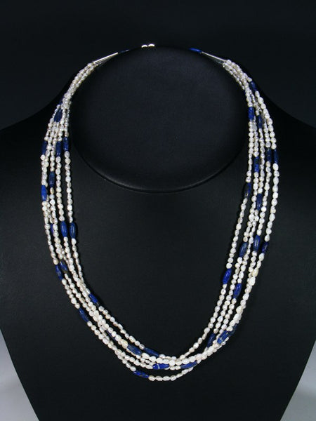 Native American Mother of Pearl and Lapis Necklace