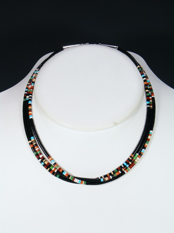 Native American Indian Bead Black Jet Santo Domingo 3 Strand Necklace
