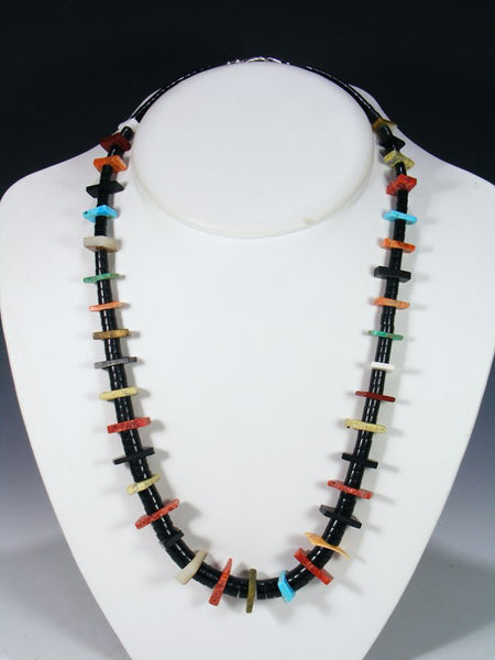 Native American Indian Santo Domingo Jet Shell Necklace