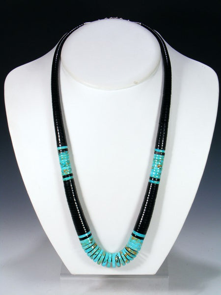 Native American Santo Domingo Turquoise and Jet Necklace