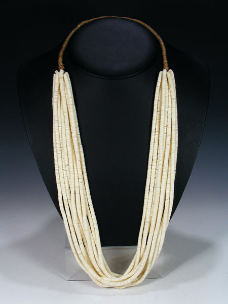Santo Domingo Ten Strand White Shell Heishi Necklace